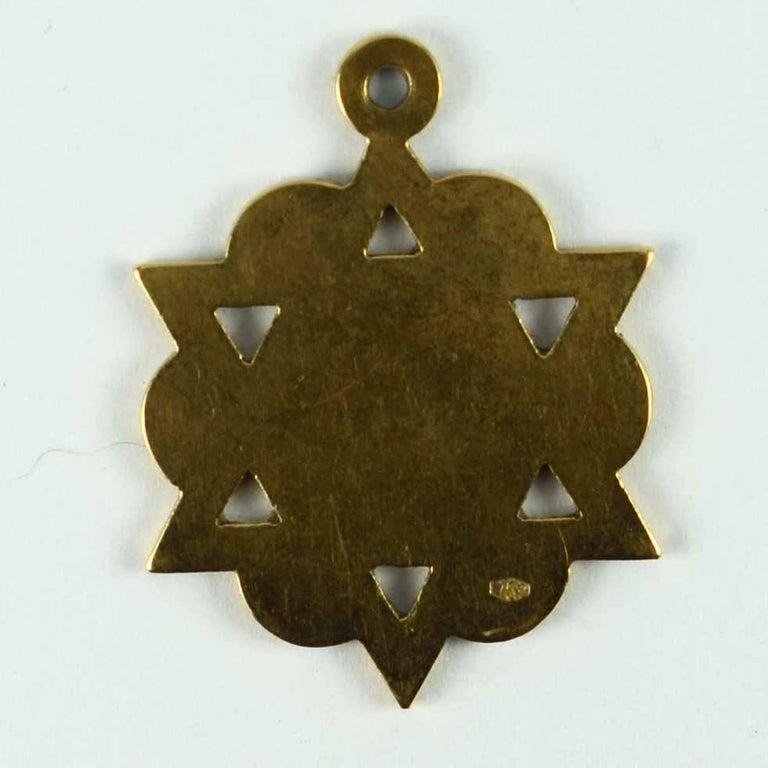 18 Karat Yellow Gold Jewish Star of David Charm Pendant For Sale 6