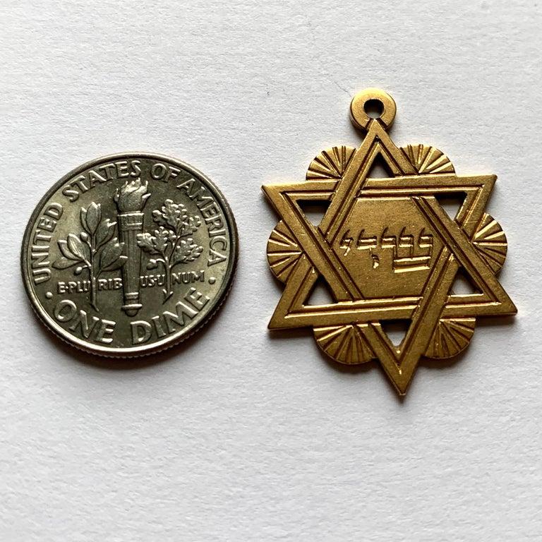 18 Karat Yellow Gold Jewish Star of David Charm Pendant For Sale 7