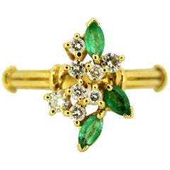 18 Karat Yellow Gold Ladies Ring with Natural Emerald and Diamonds