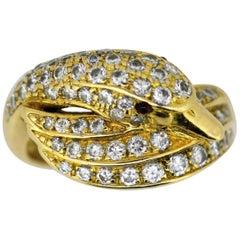 18 Karat Yellow Gold Ladies Swan Ring with Diamonds and Rubies