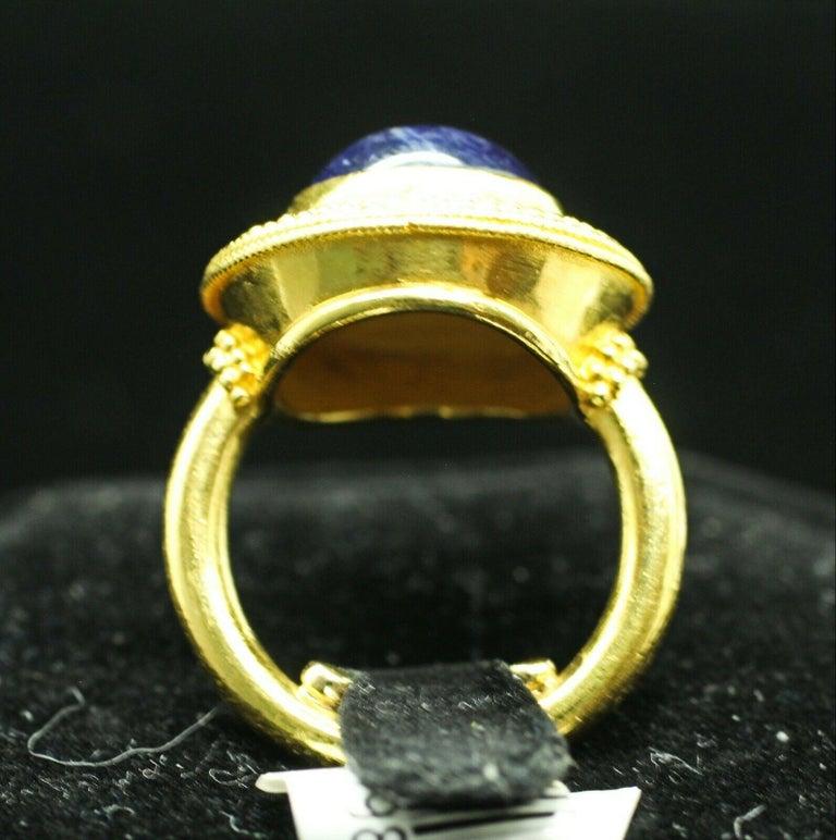 Artisan 18 Karat Yellow Gold Lapis Lazuli Ring For Sale