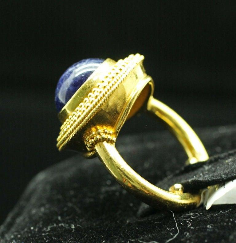 Cabochon 18 Karat Yellow Gold Lapis Lazuli Ring For Sale