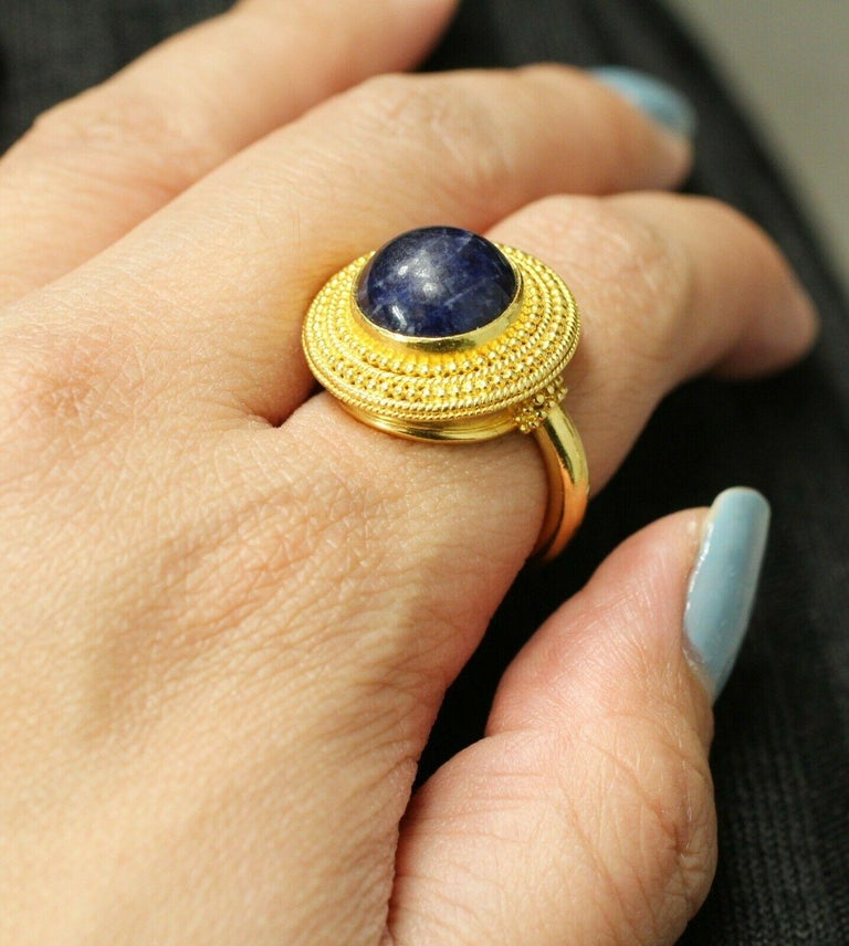 18 Karat Yellow Gold Lapis Lazuli Ring In Excellent Condition For Sale In Los Angeles, CA
