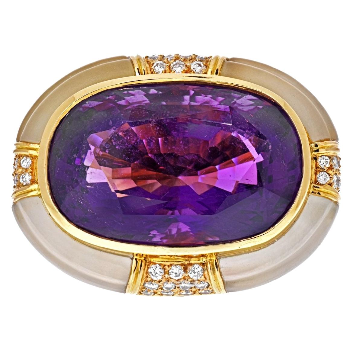 18K Yellow Gold Large Oval Amethyst and Rock Crystal Estate Diamond Ring