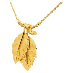 Buccellati, Federico 18K Yellow Gold Leaves and Twigs Pendant Drop Necklace