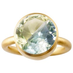 18K Yellow Gold Lemon Quartz and Green Fluorite Two-Stone Modern Cocktail Ring