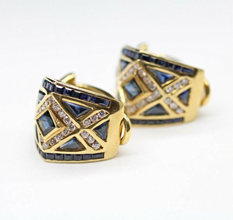 Modern 18 Karat Yellow Gold Levian Blue Sapphire and Diamond Earrings For Sale