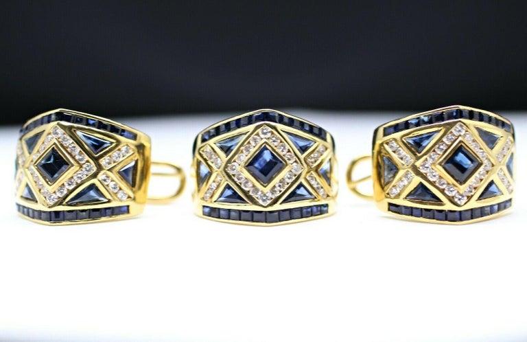 Women's or Men's 18 Karat Yellow Gold Levian Blue Sapphire and Diamond Earrings For Sale