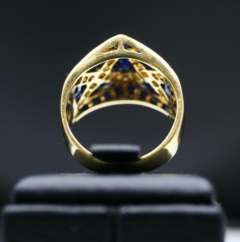 Modern 18 Karat Yellow Gold LeVian Blue Sapphire and Diamond Ring For Sale
