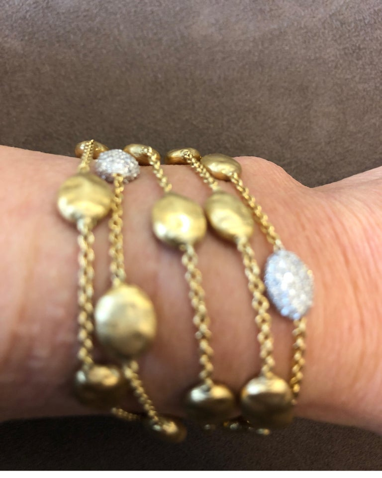 18 Karat Yellow Gold Marco Bicego Five-Stand Diamond Nugget Bracelet For Sale 5