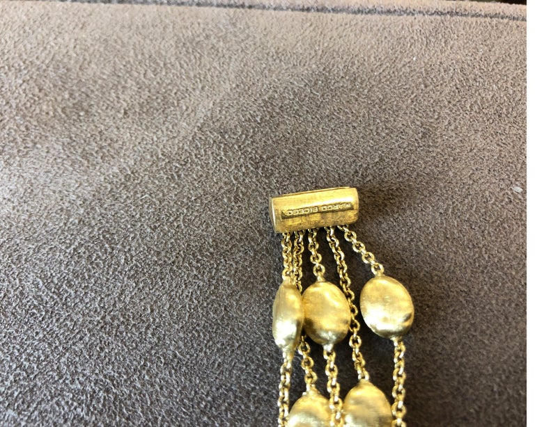 Contemporary 18 Karat Yellow Gold Marco Bicego Five-Stand Diamond Nugget Bracelet For Sale