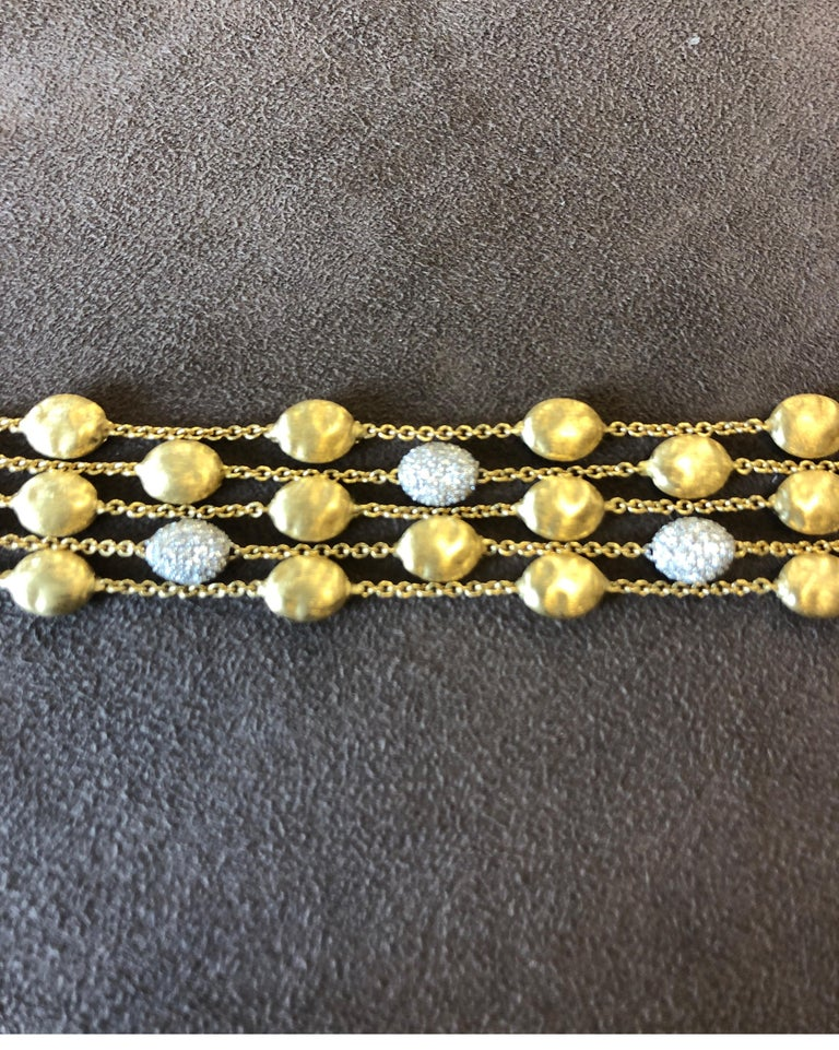 18 Karat Yellow Gold Marco Bicego Five-Stand Diamond Nugget Bracelet In New Condition For Sale In Chicago, IL