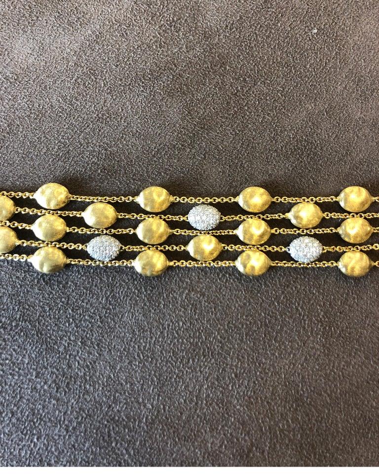 Women's or Men's 18 Karat Yellow Gold Marco Bicego Five-Stand Diamond Nugget Bracelet For Sale