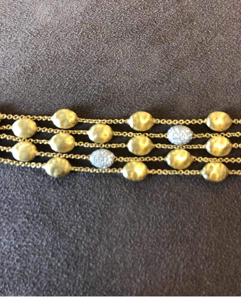 18 Karat Yellow Gold Marco Bicego Five-Stand Diamond Nugget Bracelet For Sale 1