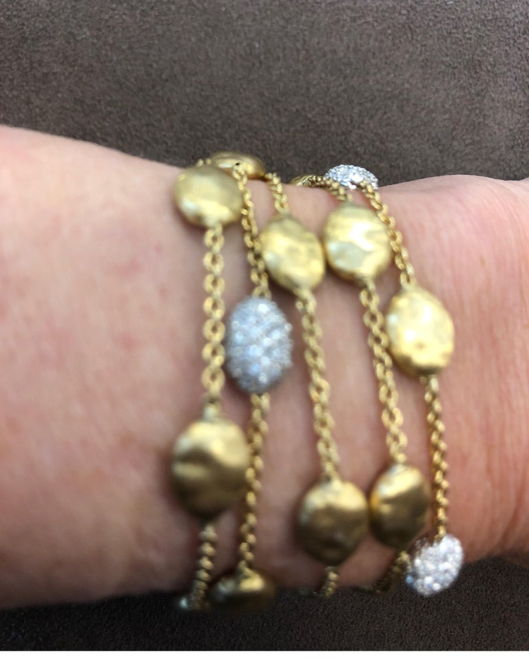 18 Karat Yellow Gold Marco Bicego Five-Stand Diamond Nugget Bracelet For Sale 4