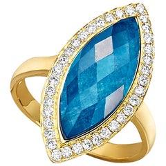 18K Yellow Gold Marquise Cocktail Ring w/Apatite, Rock Crystal Quartz & Diamonds