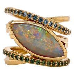 18 Karat Yellow Gold Marquise Opal Wrap Ring with Blue and Green Sapphires