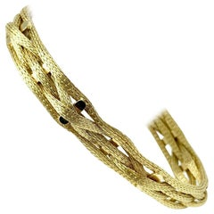 18 Karat Yellow Gold Mesh Flex Weave Bracelet