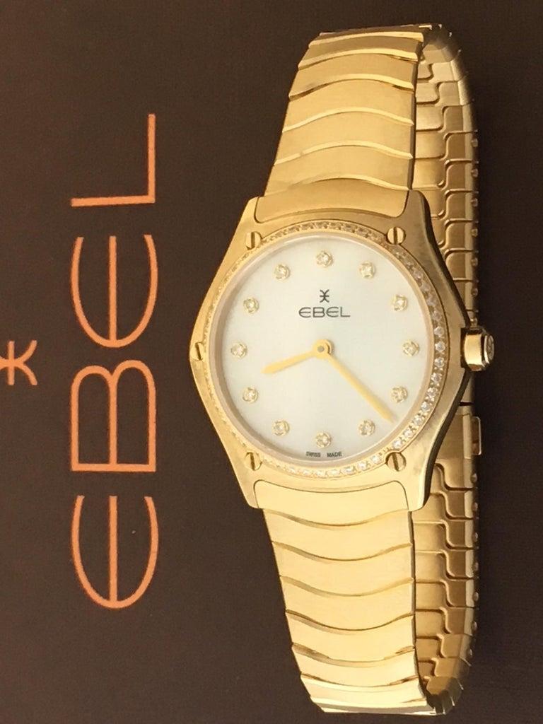 Contemporary 18 Karat Yellow Gold Midsize Ebel Sport Classic Women's Watch 05.3.50.1096 For Sale