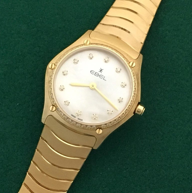 18 Karat Yellow Gold Midsize Ebel Sport Classic Women's Watch 05.3.50.1096 In Excellent Condition For Sale In Dallas, TX