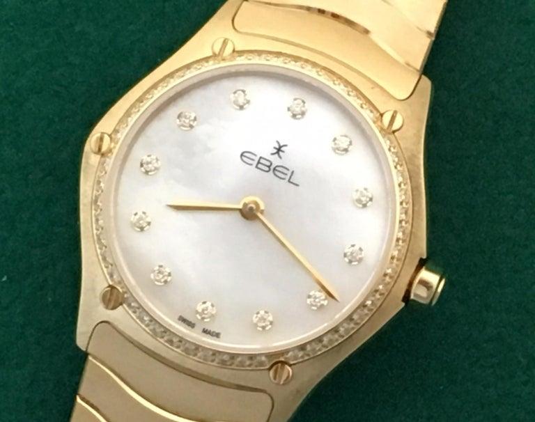 18 Karat Yellow Gold Midsize Ebel Sport Classic Women's Watch 05.3.50.1096 For Sale 1