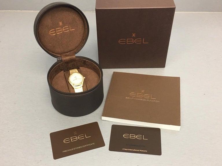 18 Karat Yellow Gold Midsize Ebel Sport Classic Women's Watch 05.3.50.1096 For Sale 3