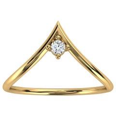 18k Yellow Gold Minimalist Chevron Solitaire Diamond Ring 'Center - 0.07 Carat'