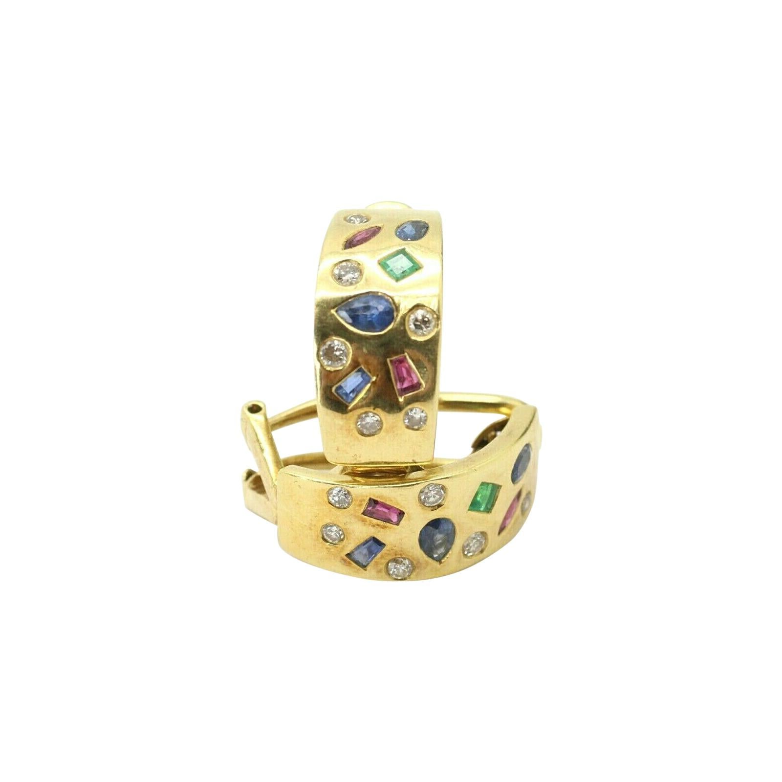 18k Yellow Gold Multi Colored Gemstone and Diamond Earring