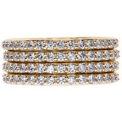 18K Yellow Gold Multi-Row Diamond Band