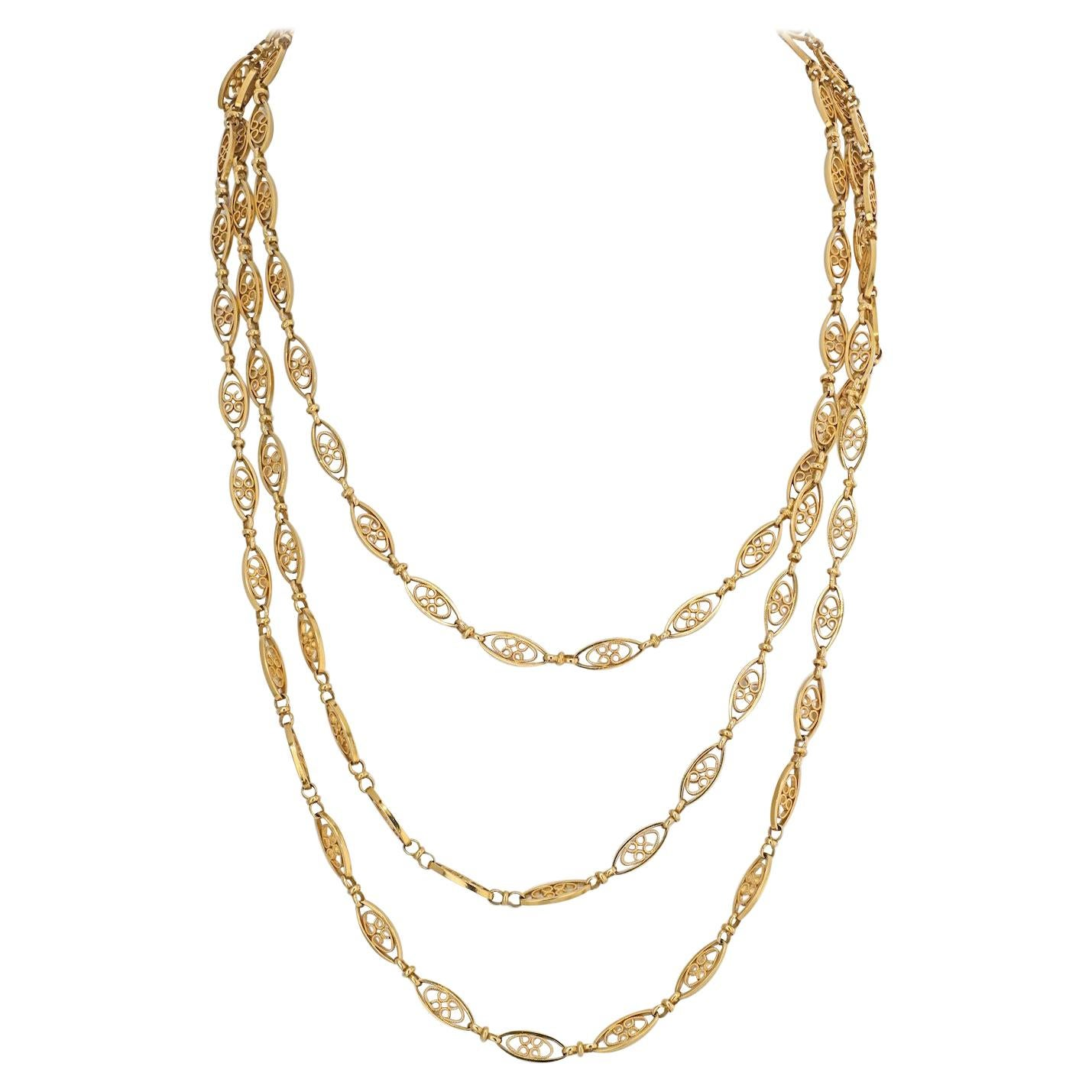 18K Yellow Gold Navette Link Long Chain Necklace