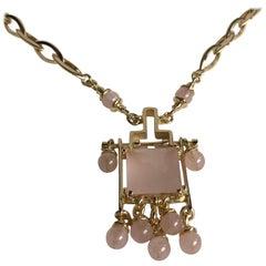 18 Karat Yellow Gold Necklace with Rose Quartz