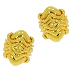 18 Karat Yellow Gold Non Pierced Clip Earrings