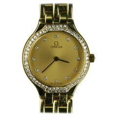 18 Karat Yellow Gold Omega Womens Wristwatch Fits Wrist