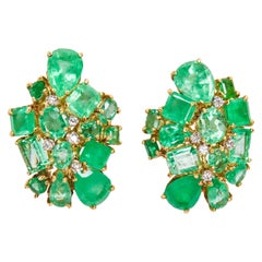 18k Yellow Gold One of a Kind Multi Shape Emeralds and Diamond Clip On Earrings