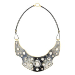 18 Karat Yellow Gold, Opal and Diamonds Shield Torque Necklace by Elie Top
