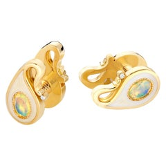 18k Yellow Gold Opals Diamonds Guilloche Enamel Double-Sided Paisley Cufflinks