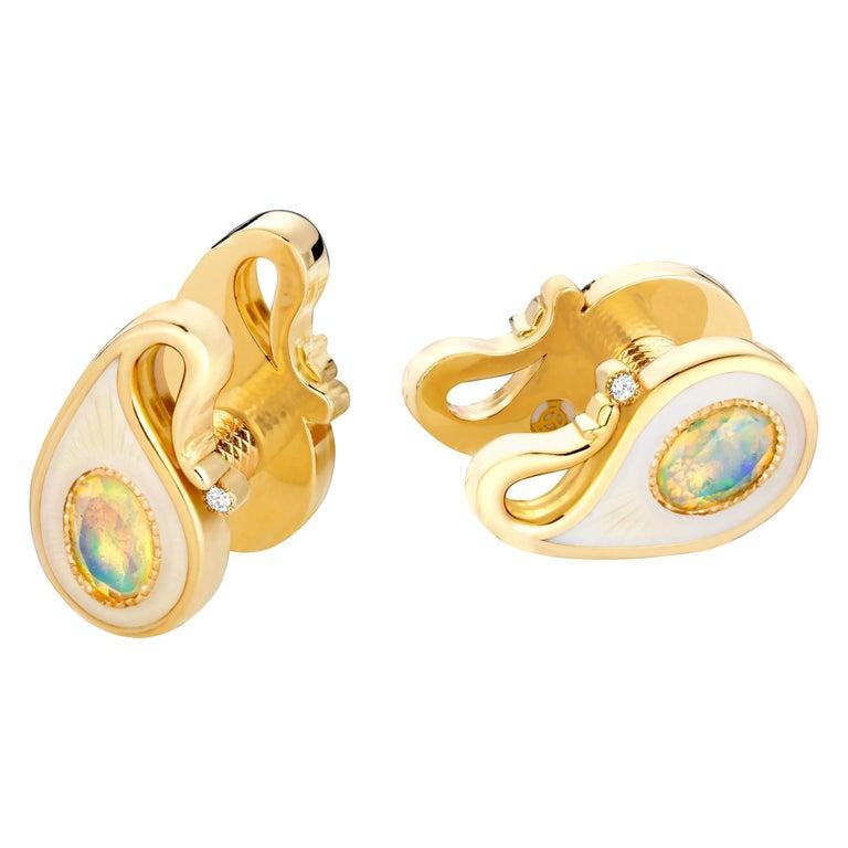 18k Yellow Gold Opals Diamonds Guilloche Enamel Double-Sided Paisley Cufflinks For Sale