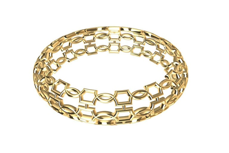 Contemporary 18 Karat Yellow Gold Open Circles Bangle For Sale