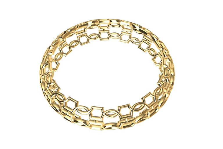 18 Karat Yellow Gold Open Circles Bangle In New Condition For Sale In New York, NY