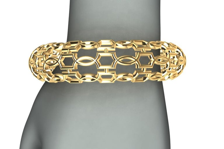 18K Yellow Gold Open Circles Bangle , From the Gates Series. These are inspired from designs elements of ironwork on gates and windows of Europe in a time gone era. Intricate lacing and weaving of shapes and circles woven for an exciting