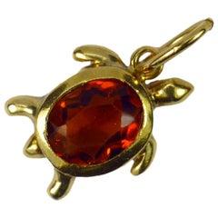 18 Karat Yellow Gold Orange Citrine Turtle Tortoise Charm Pendant