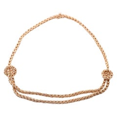 18 Karat Yellow Gold Ornate Double Strand Center Necklace