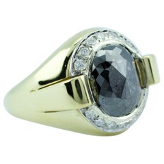 18k Yellow Gold Oval Black Rose Cut Diamond with A Halo of Round Diamonds Ring