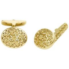 18 Karat Yellow Gold Oval Cufflinks