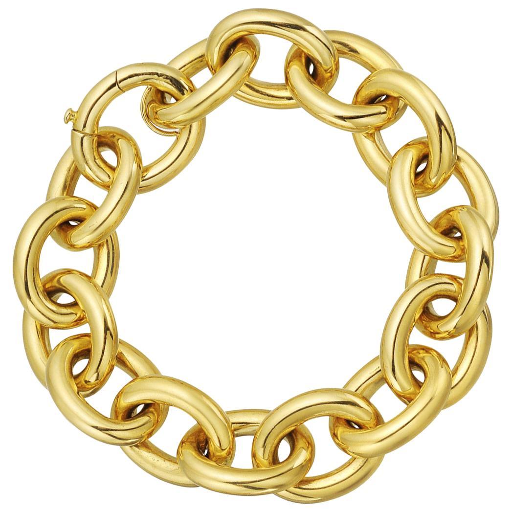 18 Karat Yellow Gold Oval Link Bracelet