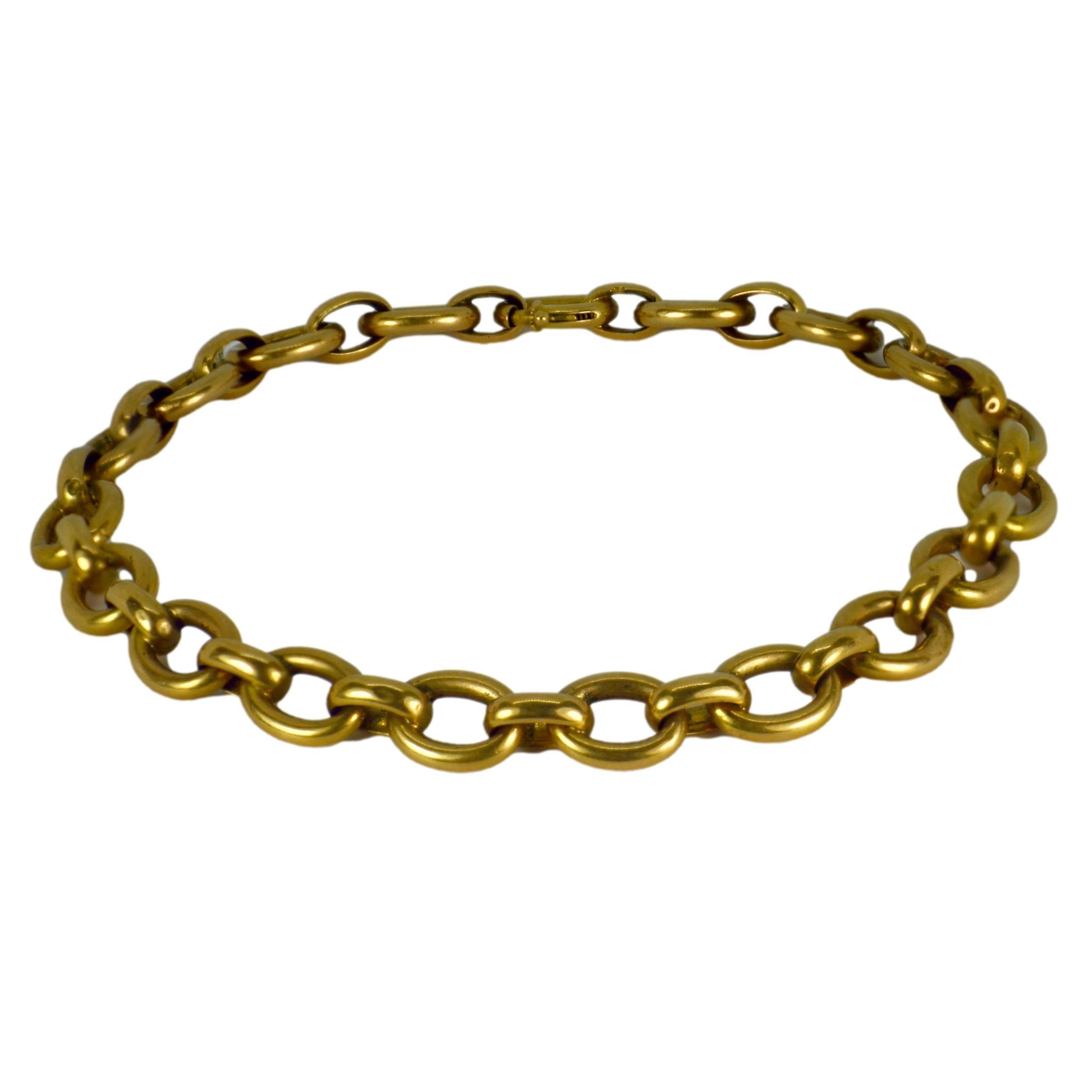 18K Yellow Gold Oval Link Bracelet