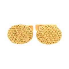 18k Yellow Gold Oval Tight Weave Cufflinks