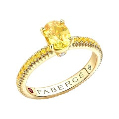Fabergé 18k Yellow Gold Oval Yellow Sapphire Fluted Ring with Sapphire Shoulders