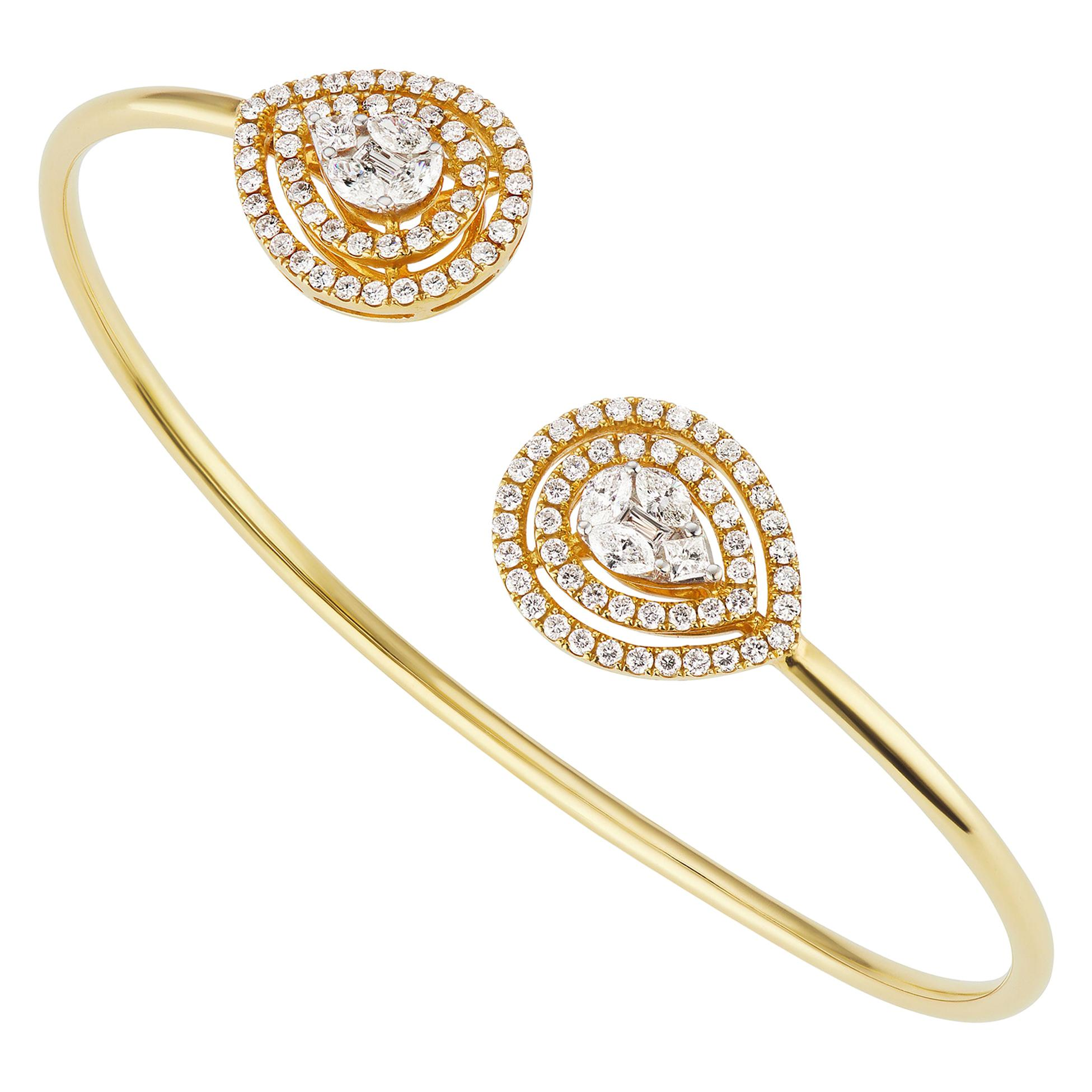 18k Yellow Gold Pave Diamond Cuff Bangle