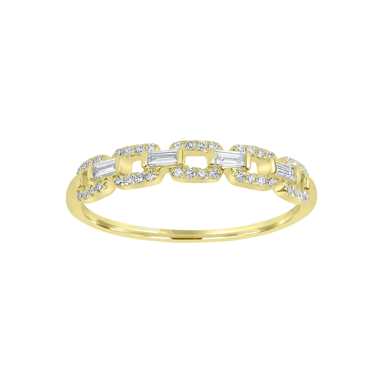 18k Yellow Gold Pave Diamond Link Band Ring